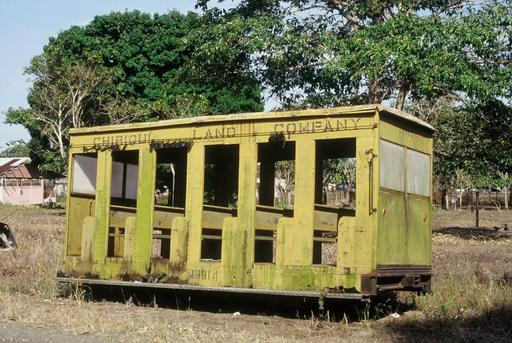One of the last rail vehicles of the Banana transport railway of the Chiriquí Land Company at the former depot area of Puerto Armuelles.