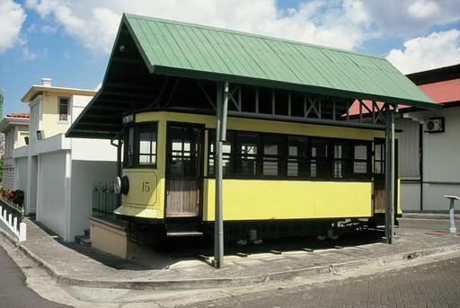 Reconstructed tram car No. 15 (Brill), exposed at the Parque de Diversiones near San José.