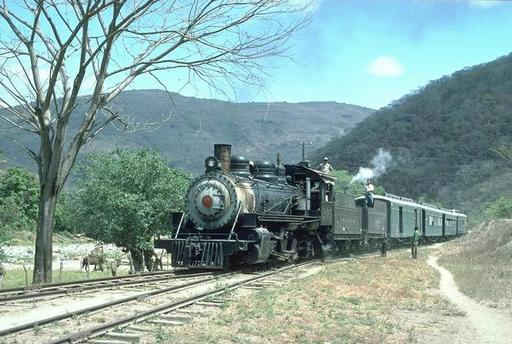 Steam train with locomotive 205 ascending from Rancho to Guatemala City. Near Agua Caliente.