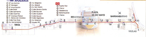 Map of the stations of the Metropolitana line (A=Northeast, D and E=Southeast, Sefecha, Argentina.
