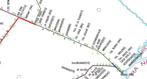Connecting line between Line 1/Metropolitana line and Line 2/3. Line 1 violet, Line Metropolitana blue, Line 2 dark red, Line 3 red, Sefecha, Argentina.