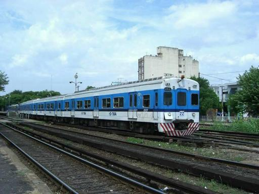 View of Toshiba Electrical MU train at Haedo.