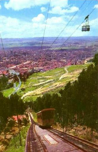 Postcard, old funicular and new aerial cableway; after 1955. Monserrate, Colombia.