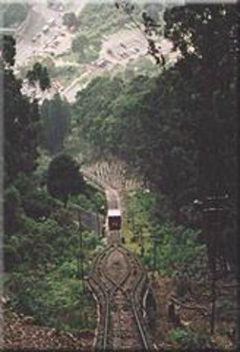 Passing loop seen from above with car 2 of 1962. Monserrate, Colombia.