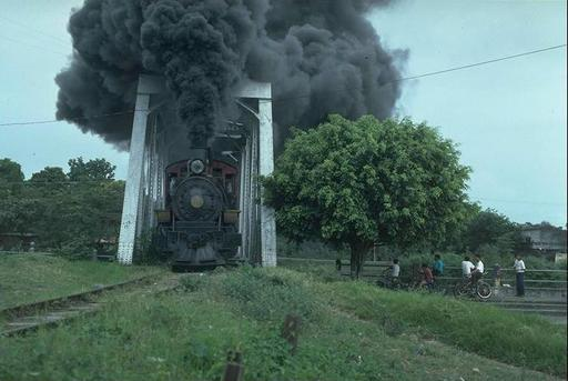 Lowland engine 11 crosses a bridge before reaching Yaguachi, Ecuador.
