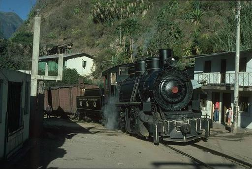 Mountain engine 58 (2-8-0, Baldwin 75590/1952), last built Baldwin steam engine, with Mixto at Huigra, Ecuador.