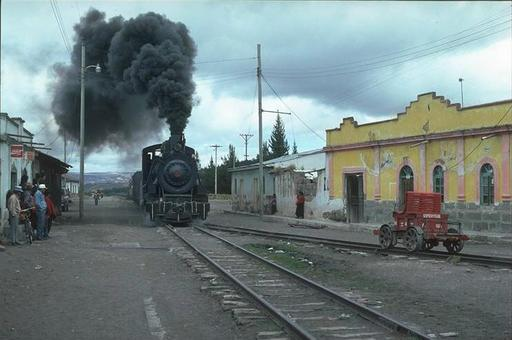 Mountain engine 58 with special train at Palmira between Alausi and Riobamba, Ecuador.