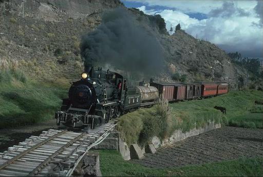 Special train with mountain engine 58 on the way from  Riobamba to Ambato, Ecuador.