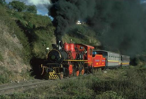 Lowland engine 14 (2-6-0, Baldwin 1901) with special train  below Ibarra on the line to San Lorenzo, Ecuador.